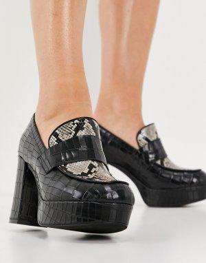 Черные туфли на массивном каблуке со вставкой под змеиную кожу Scholar-Черный цвет Jeffrey Campbell