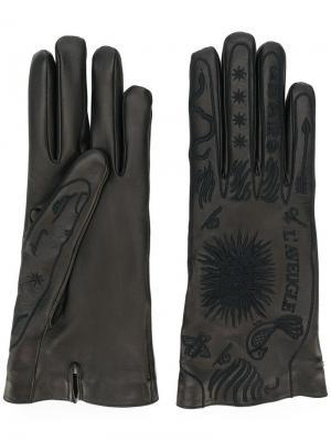 Перчатки с вышивкой Gucci. Цвет: черный