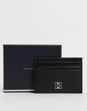 Черная кожаная кредитница с логотипом и монограммой -Черный цвет Tommy Hilfiger