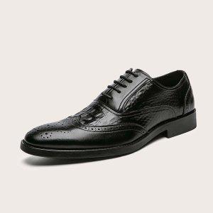 Мужские минималистичные броги на шнурке SHEIN. Цвет: чёрный