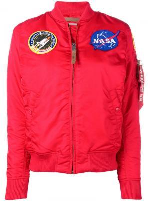 Куртка-бомбер с заплаткой NASA Alpha Industries. Цвет: красный
