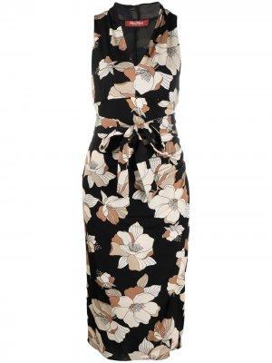 Платье миди с цветочным принтом Max Mara. Цвет: черный
