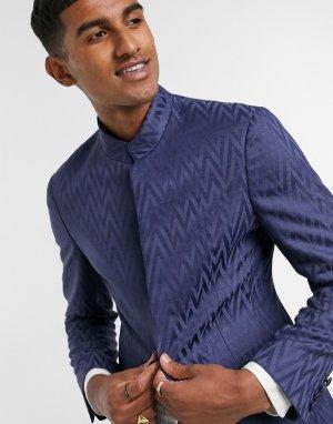 Темно-синий пиджак узкого кроя с воротником-стойкой ASOS DESIGN