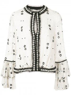 Блузка Celestia с вышивкой бисером Alexis. Цвет: белый