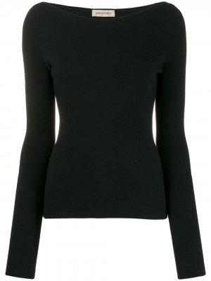 Приталенный пуловер с вырезом-лодочкой Gentry Portofino. Цвет: черный