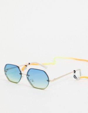Солнцезащитные очки с синими стеклами в шестиугольной оправе -Голубой Bershka