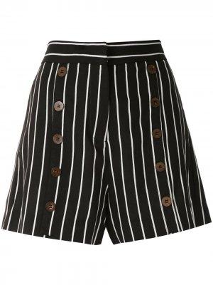 Полосатые шорты с пуговицами Eva. Цвет: черный