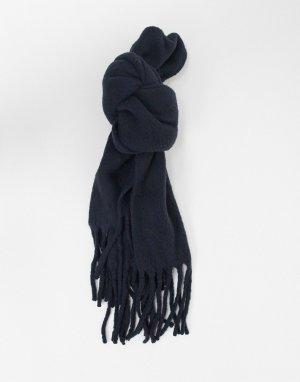 Черный шарф-одеяло с начесом и кисточками AllSaints