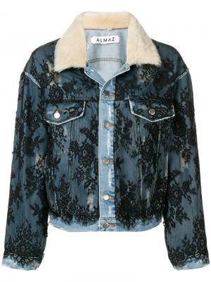 Джинсовая куртка с кружевными вставками Almaz. Цвет: синий
