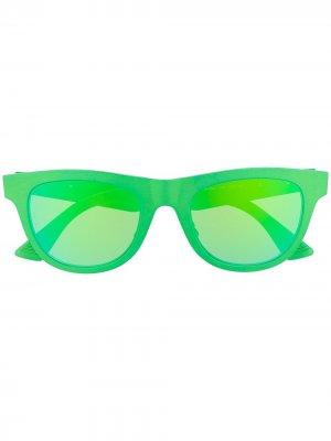 Солнцезащитные очки в круглой оправе Bottega Veneta Eyewear. Цвет: зеленый