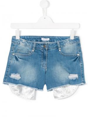 Рваные джинсовые шорты Elsy. Цвет: синий