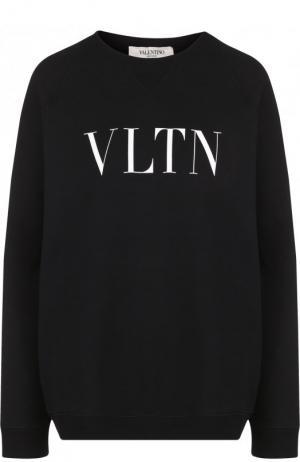 Хлопковый пуловер с круглым вырезом и логотипом бренда Valentino. Цвет: черный
