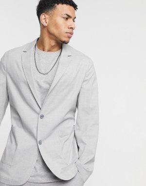 Мягкий серый пиджак зауженного кроя ASOS DESIGN