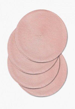 Комплект салфеток сервировочных DeNastia. Цвет: розовый