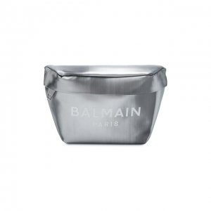 Кожаная поясная сумка Balmain. Цвет: серебряный