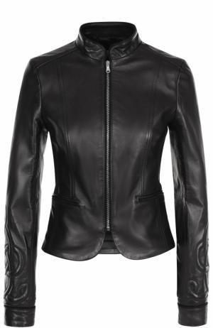 Приталенная кожаная куртка с воротником-стойкой REDVALENTINO. Цвет: черный