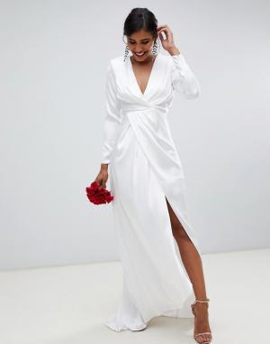Атласное свадебное платье с глубоким вырезом и запахом Sadie-Белый ASOS EDITION