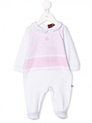 Пижама с монограммой Aigner Kids. Цвет: белый