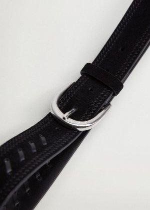 Кожаный ремень с украшениями - Denia Mango. Цвет: черный