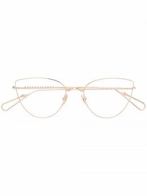 Солнцезащитные очки в оправе кошачий глаз Ahlem. Цвет: золотистый