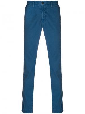 Классические брюки-чинос узкого кроя Incotex. Цвет: синий
