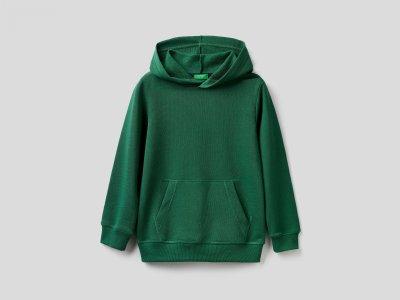 Толстовка с капюшоном Benetton. Цвет: зеленый