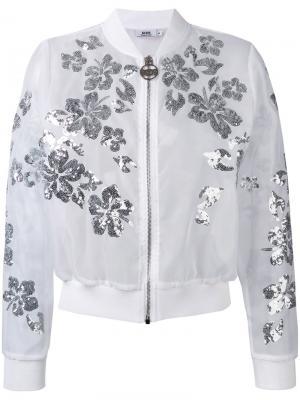 Куртка-бомбер с цветами из пайеток Gcds. Цвет: белый