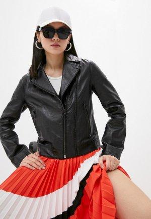 Куртка кожаная Hugo Loveri. Цвет: черный