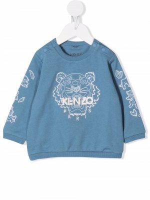 Embroidered tiger-motif sweatshirt Kenzo Kids. Цвет: синий