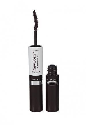 Тушь для ресниц Sana двухсторонняя, удлинение+объем, цвет темно-коричневый, 12 г. Цвет: черный