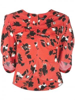Блузка с короткими рукавами и цветочным принтом Derek Lam. Цвет: красный