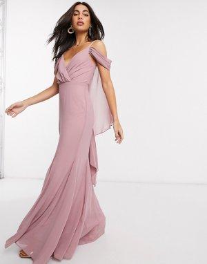 Розовое платье макси с V-образным вырезом и открытыми плечами -Розовый Goddiva