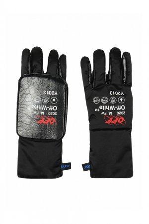 Черные комбинированные перчатки Off-white. Цвет: черный
