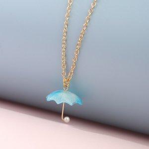 Ожерелье с зонтом для девочек SHEIN. Цвет: синий