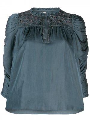 Блузка с пышными рукавами и сборками Ulla Johnson. Цвет: синий