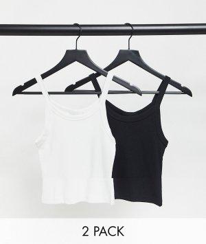 Набор из двух маек на бретельках органического хлопка черного и белого цвета Kristy-Многоцветный Weekday