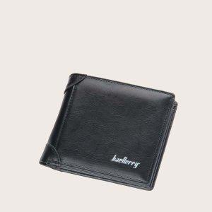Мужской кошелек с текстовым принтом SHEIN. Цвет: чёрный
