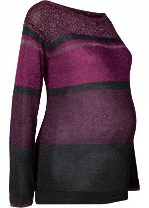 Пуловер для беременных, дизайн в полоску bonprix. Цвет: лиловый