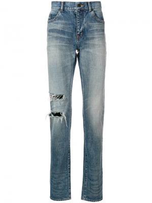 Прямые джинсы с прорезями Saint Laurent