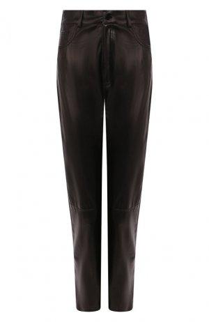Кожаные брюки DROMe. Цвет: чёрный