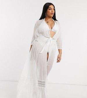 Белое пляжное кимоно макси с кружевом ASOS DESIGN Сurve-Белый Curve