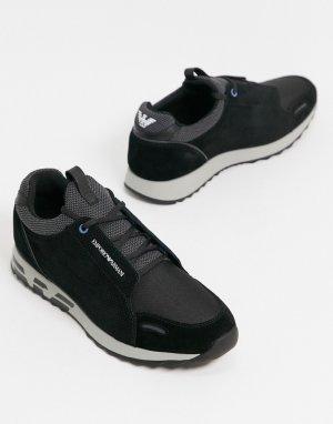 Черные кроссовки из кожи и замши с логотипом -Черный Emporio Armani