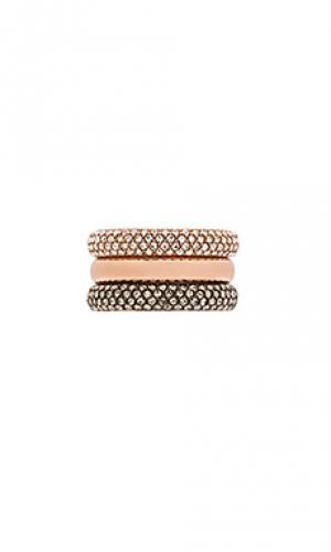 Наборное кольцо с инкрустированными полосками Michael Kors. Цвет: металлический золотой