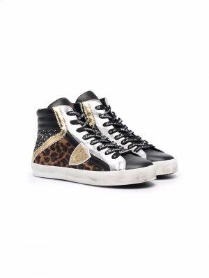 Высокие кроссовки со вставками Philippe Model Kids. Цвет: черный