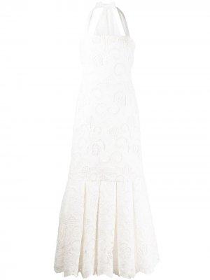 Платье с английской вышивкой Alexis. Цвет: белый