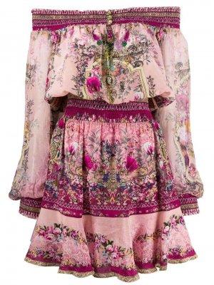 Платье с открытыми плечами и принтом Camilla