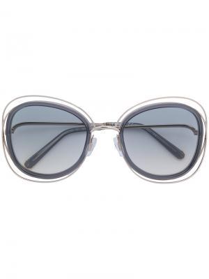 Объемные солнцезащитные очки Chloé Eyewear. Цвет: металлический