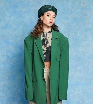 Oversized-блейзер зеленого цвета в винтажном стиле COLLUSION Unisex-Зеленый цвет
