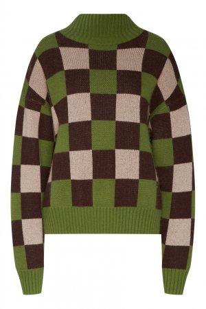 Клетчатый пуловер Akhmadullina DREAMS. Цвет: зеленый