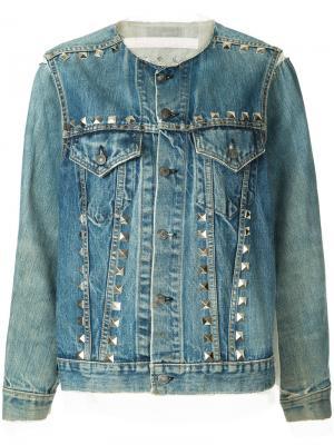 Джинсовая куртка с заклепками Maison Mihara Yasuhiro. Цвет: синий